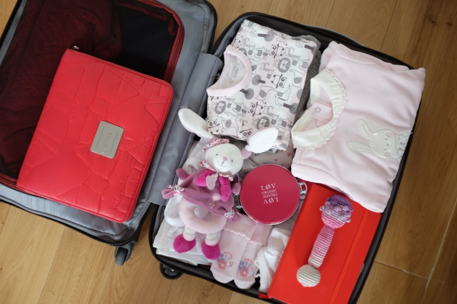 baby traveling, suitcase